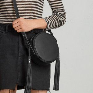 NWT ALLSAINTS Kepi Round Tassel Black Leather Circle Crossbody Purse